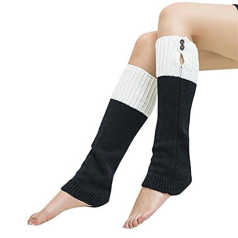 Tefamore Femmes hiver genou jambières Chaussettes Chaussettes Leggings Boot (Taille libre, Noir)