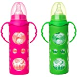 NAUGHTY KIDZ PREMIUM BOROSILICATE HANDY GLASS BOTTLE WITH ULTRASOFT LSR NIPPLE||SILICONE BOTTLE WARMER||EASY TO HOLD HANDLE||KEY TEETHER||HOOD RETAINING CAP AND SEALING DISC RING -250ML+250ML (PINK+GREEN)