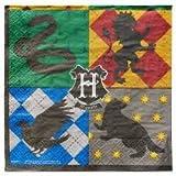 Harry Potter 16 Stück Servietten Papierservietten - große Partyservietten mit den Hogwarts Schulhäusern