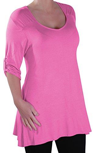 Eyecatch - Stella Aux Femmes À Encolure Dégagée Tunique Grande Taille Dames T-Shirt Chemisier Rose