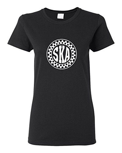 SKA Circle White Design Women's Black T-Shirt (L)