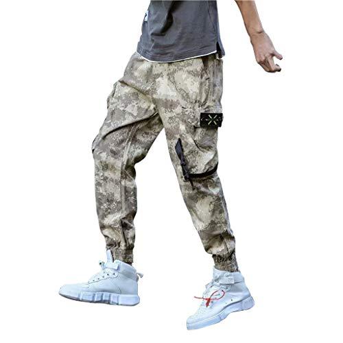 YU'TING - Pantaloni Uomo Lunghi Cargo con Tasche Laterali Tattici Militari Pantalone da Lavoro Pantaloni a Matita Sciolto Casuale All'aperto Tinta Unita 2 Colore M-5XL