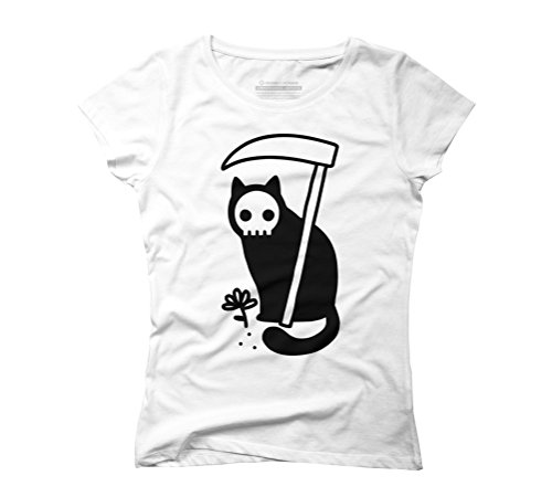 Grim Kitty Women's Small White Graphic T-Shirt - Design By Humans