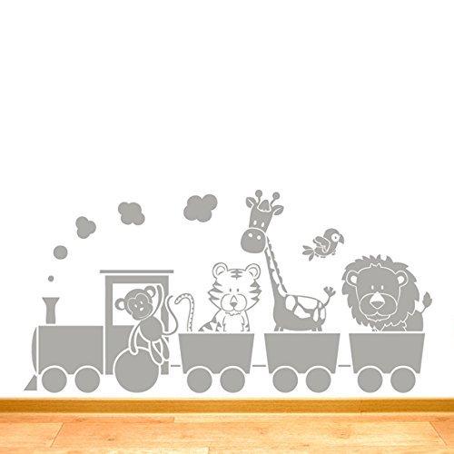 Childrens Jungle Animal Train Wall Sticker -