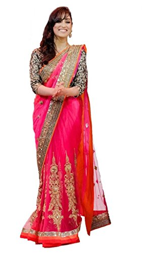 Zeel Fashion Net Saree (176_Pink)