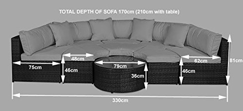 Monaco Large Rattan Sofa Set (Semi Circle) With Small Round Glass Table And  + Cushions + ...