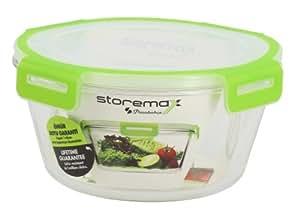 StoreMax 1609009 Boîte avec Couvercle Rond Verre/Polypropylène Transparent/Vert 2,2 L