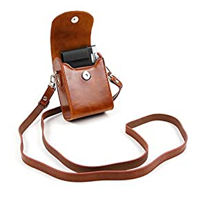 DURAGADGET Panasonic Lumix Compact Camera Case - Stylish Faux Leather Protective Case / Bag with Additional Detachable Carry Strap in 'Vintage' Brown for Panasonic Lumix DMC-TZ55EB-K, Lumix DMC-TZ55EB-K DMC-TZ60, GM5, DMC-FT30, DMC-TZ57, DMC-TZ70, DMC-SZ10, DMC-GF7, DMC-FT6, DMC-TS30, DMC-TS6, DMC-ZS45, DMC-ZS50 & DMC-ZS40K