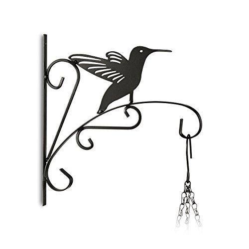 Relaxdays 10020695_623 appendi-vasi con uccello ganci portavasi da parete decorazioni da giardino metallo hxlxp: 30 x 28 x 2 cm nero