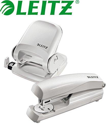 Leitz 5005 NeXXt Series Bürolocher für bis zu 25 Blatt / Kombi-Set (Locher + Heftgerät, grau)