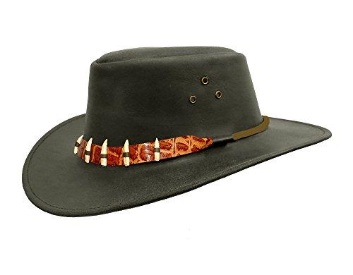 Kakadu Traders Lederhut Croc in schwarz- Hutband aus falschem Krokodil und Zähnen | Herren Damen...