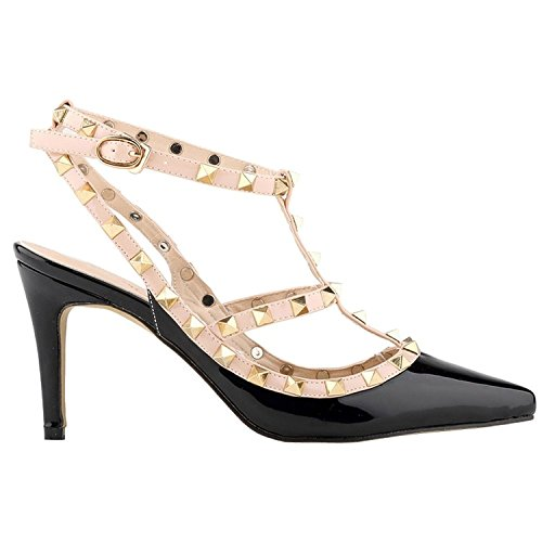 Arc-en-ciel Damenschuhe Schnalle spitzen Zehe High Heel Sandaletten besetzt Schwarz