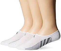 adidas Men s Superlite Super No Show Socks 3 Pack White/Light Onix/Medium Lead Large