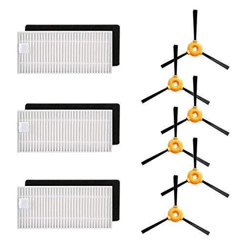 SODIAL Kit de Remplacement - 3 Ensembles Kit de Filtres (3 Pièces Filtres à Haute Efficacité +3 Pièces Filtres en Mousse),6 Pièces Brosses Latérales