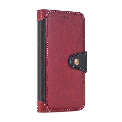 iPhone 7 Plus Coque, Voguecase [PU + TPU] Étui en cuir synthétique chic avec fonction support pratique pour Apple iPhone 7 Plus 5.5 (Rose)de Gratuit stylet l'écran aléatoire universelle Rouge/Noir