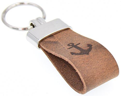 Schlüsselanhänger Original Pelluca Italienisches Echtleder Handgemacht in Deutschland 10 Jahre Garantie (Gravur: Anker, Ring: Silber)
