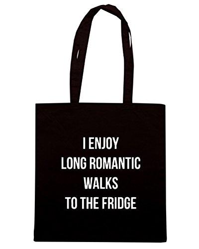 T-Shirtshock - Borsa Shopping ENJOY0109 I enjoy long romantic walks to the fridge Nero
