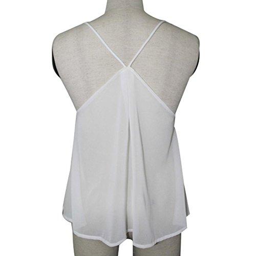 OverDose Damen Lace Chiffon Vest Top Sleeveless Casual Tank Blouse Summer Tops T-Shirt Spitze Weste Sommer Blusen (S, Z-Weiß) - 5