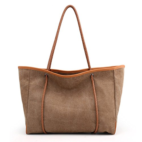 4ecb7aa698d29 PDFGO Tote Damen Beutel Casual Messenger Bag Solid Canvas Schulter Große  Rucksack Tote Bag Hand Tasche