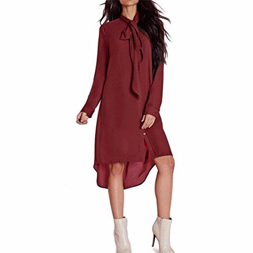 Damen Hemdkleid FORH Frauen Casual Loose Langarm Chiffon Kleider Cute bow-knot Fliege Shirt Blusenkleid Elegant Einfarbig V-Ausschnitt Tunika Minikleid Tops (Wein, S)