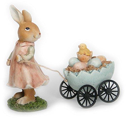 Happy Gifts Osterhasen Mädchen mit Ostereier Wagen für Osterdeko im Garten oder im Haus