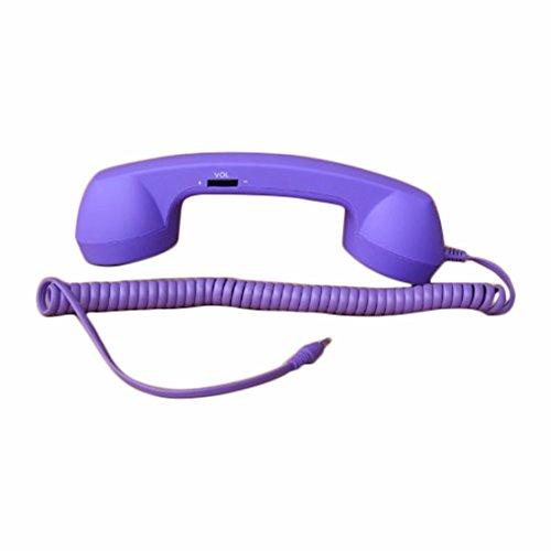 Demarkt Retro Telefonhörer Lautsprecher Handset Mikrofon Hörer Headsets für Smartphones und Handys Tablet PC,für iPhone 4 5 Galaxy Tab P1000 Asus Nexus 7 Win 8 Surface S2 S3 i9300 Lila -