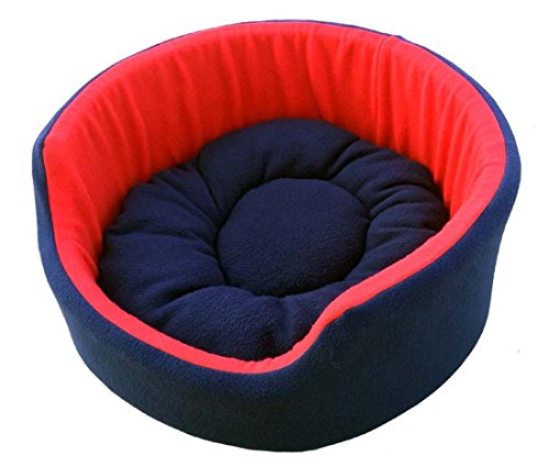 Fluffy's Luxurious Soft Red & Blue Dog/Cat Bed Both Side(Export Quality)- Small