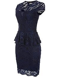 Damen Kleid Abendkleid Party Club Spitze Peplum Schößchen Stretch XS S M Schwarz