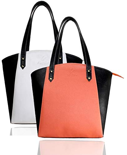 Fargo Motley PU Leather Women's Tote Handbag Combo Of 2 (Peach,White_FGO-090)