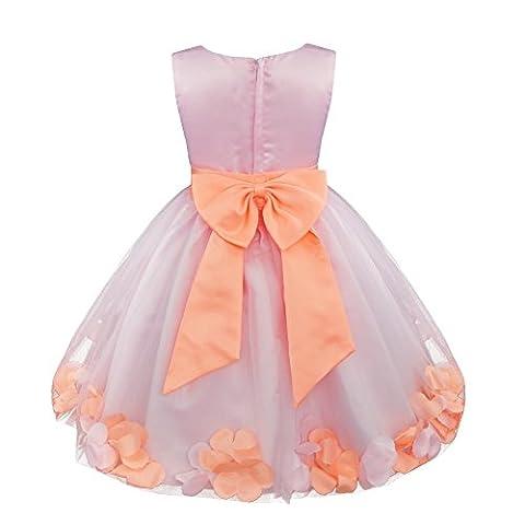 iEFiEL Girl Flower Petals Dress Formal Wedding Bridesmaid Party Christening Princess Dresses Baby Pink 6 Years