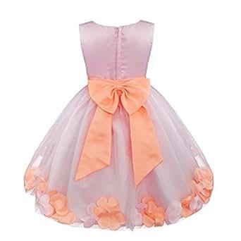 iEFiEL Girl Flower Petals Dress Formal Wedding Bridesmaid Party Christening Princess Dresses Baby Pink 2 Years