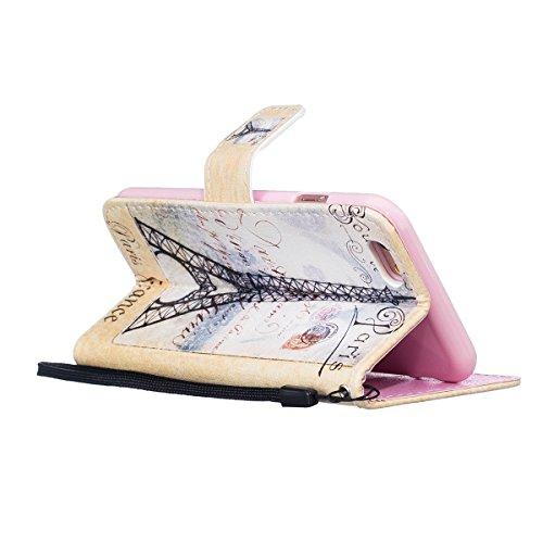 Felfy Tasche für iPhone 6 Hülle,iPhone 6S Leder Brieftasche Flip Hülle BookStyle PU Leder Wallet Case Hunde Katzen Fuchs Rose Farbe Muster Lederhülle Folio Schutzhülle Ledertasche PU Leder & Silikon I Lanyard Postkarte