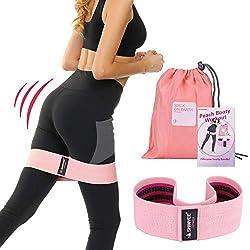 Shinyee Bande Elastique Fitness Sport de Resistance Band Exercice Booty Builder Circle Hanche Bandes Elastiques Musculation Set Coton Jambes et Bouts d'exercice à Boucle de Fitness(Pink-L-43cm)