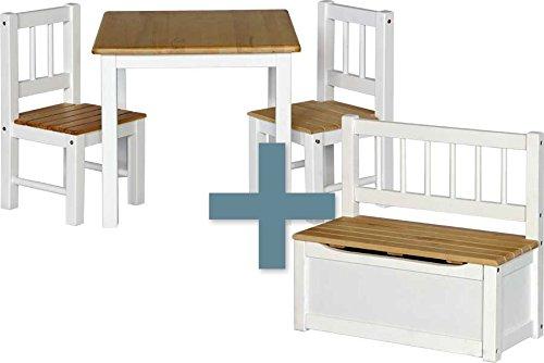 IB-Style Kindersitzgruppe NOA | 3 Kombinationen - 4-er Set: 1x Tisch + 2x Stühle + 1x Truhenbank - Stuhl Truhenbank Kindermöbel Tisch Kindertisch Kinderstuhl