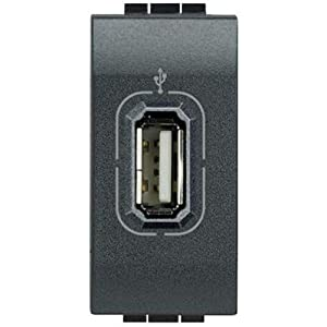 Bticino L4285 Livinglight Series USB Connector (not powered), Anthracite