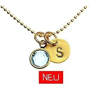 Armband mit Anhänger Plättchen Gravur gestempelt Initiale Buchstabe personalisiert Münze Plakette Scheibe Kristall CZ Farbe: Gold hellblau