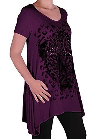 EyeCatch Plus - Ladies Graphic Tiger Long Draped Womens Sparkle