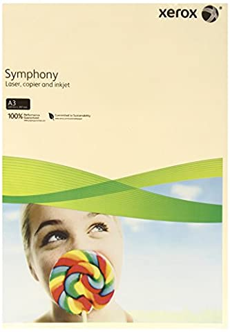 Xerox Symphony Pastel 003R92203 Printer / Copier Paper Coloured DIN A3 80 g/m² 500 Sheets Suitable for Colour Laser and Inkjet Printers / Pale Ivory (cream)