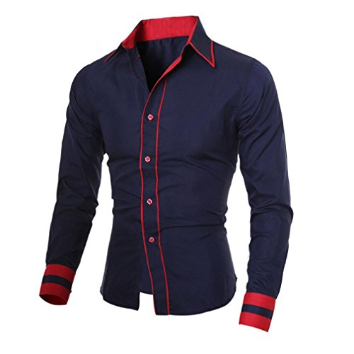 Herren solide Business Bluse Shirt, Amlaiworld Langarm Bluse Shirt Marine