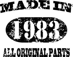 Mister Merchandise Tasche Made in 1983 All Original Parts 32 33 Stofftasche , Farbe: Schwarz Natur