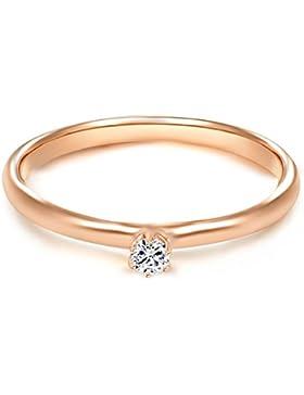 Tresor 1934 Damen-Ring / Verlobungsring / Solitärring Sterling Silber rosévergoldet Zirkonia weiß 60451006