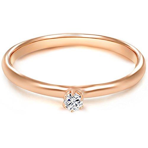 Tresor 1934 Bague femme / Bague de fiançailles / Solitaire Argent Sterling 925/1000 doré or rose Oxyde de zirconium blanc T. 52 60451006