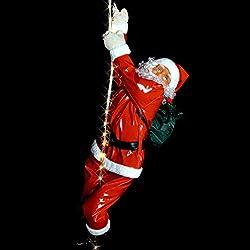Weihnachtsmann Santa Claus am 200cm langen LED Lichtseil Weihnachtsdeko Christmas Noel Aussendekoration Innendekoration weihnachtlich Advent Adventszeit