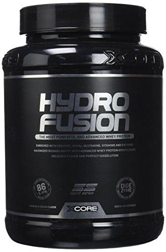XCore Hydro Fusion Whey Protéine Poudre 900 g - Complément pour la Croissance et la Récupération Musculaires - Goût Cookies et Crèmes Exquis - Facile à Digérer - 29 Portions