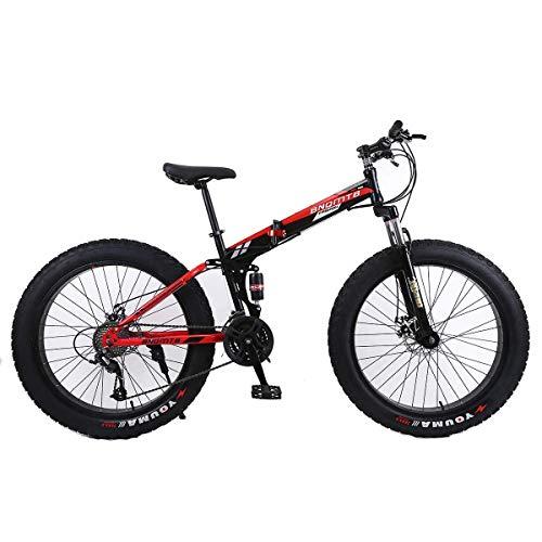 KOSGK Folding Mountainbike 26 'Alloy Boy Fahrräder 27 Speed   Dual Suspension 4.0 Zoll Fat Tire Fahrrad kann Radfahren auf Schnee, Berge, Straßen, Strände, etc.