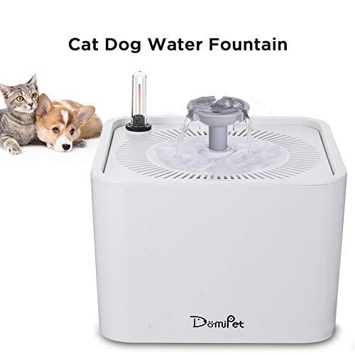 Domipet Katzen Trinkbrunnen Katzenbrunnen Haustier Wasserbrunnen mit Aktivkohlefilte, Wasserspender für Hunde Katzen, Automatisch Katzen Trinkbrunnen, Leise Rutschfest, Anti-Bissen USB-Kabel