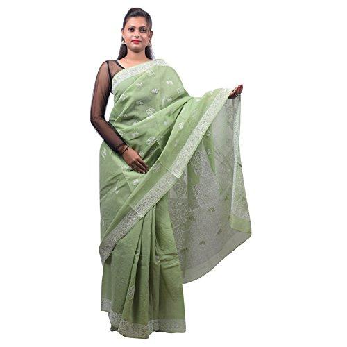 Bds Chikan Cotton Saree (Bds00451_Pista Green)