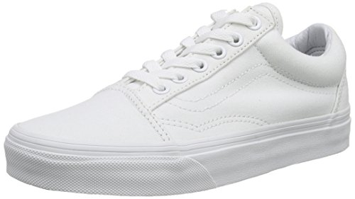 Vans Old Skool Zapatillas de Tella Unisex Adulto, Blanco (true white), 36