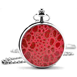 Red Textured Cover Silver Pocket Watch & Chain Simulated Leather Unique Unisex