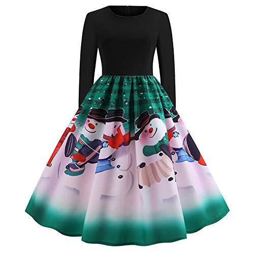 Riou Damen Abendkleid Elegant für Party Hochzeit Weihnachtskeid Partykleider Druck Vintage Langarm...